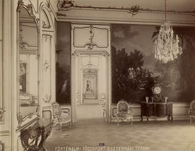 Kiállításfotó - a fertődi Esterházy-kastély ún. Mária Terézia előszobájának rekonstrukciója a millenniumi kiállításon