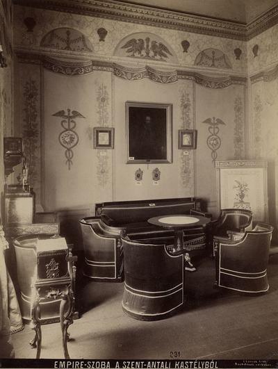 Kiállításfotó - a szentantali kastély empire szobájának rekonstrukciója a millenniumi kiállításon