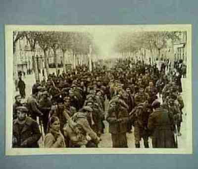 Republican soldiers being held captured in the Rambla in Tarragona