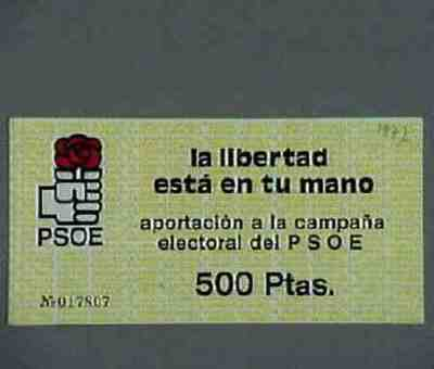 Ticket of support for the electoral campaign. Series of 100 and 500 Pesetas