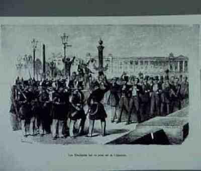 Les etudiants sur le pont de la Concorde