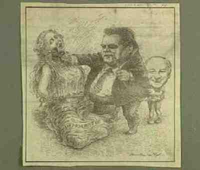 Caricature print Franz-Josef Strauss