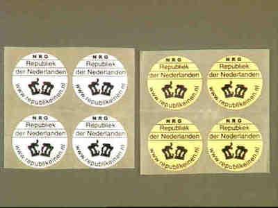 Stickers uitgegeven om op de nieuwe euromunten te plakken waar de afbeelding van de koningin staat