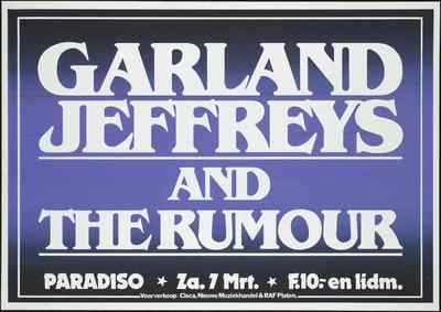 Poster / Programma: 7 maart Garland Jeffreys and The Rumour