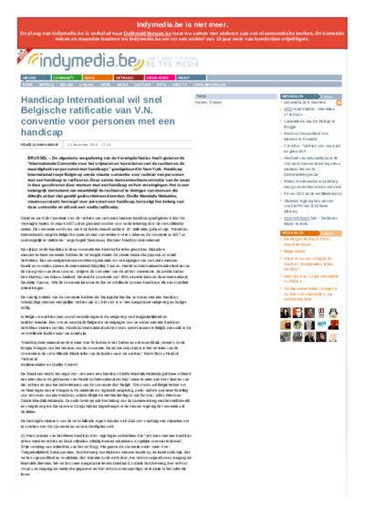 Handicap International wil snel Belgische ratificatie van V.N. conventie voor personen met een handicap