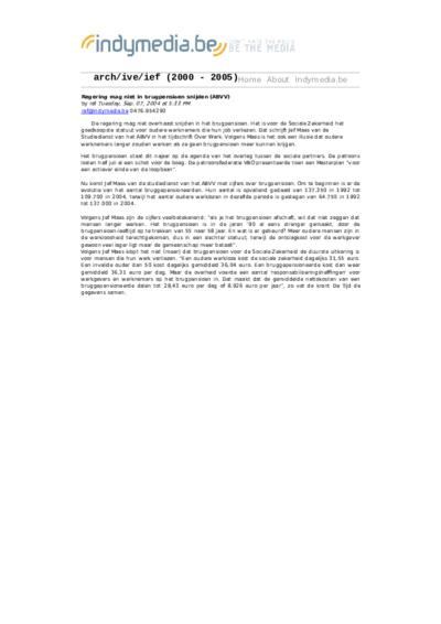 Regering mag niet in brugpensioen snijden (ABVV)