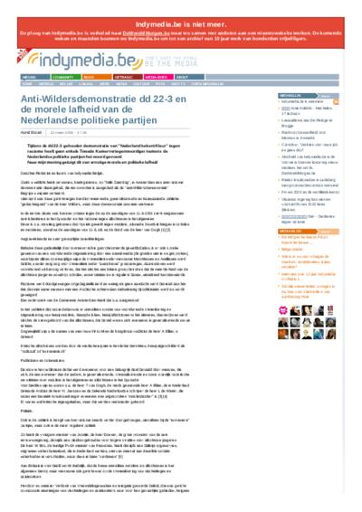 Anti-Wildersdemonstratie dd 22-3 en de morele lafheid van de Nederlandse politieke partijen