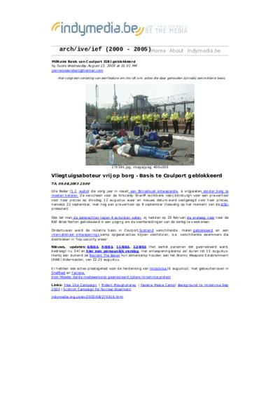 Militaire Basis van Coulport (GB) geblokkeerd