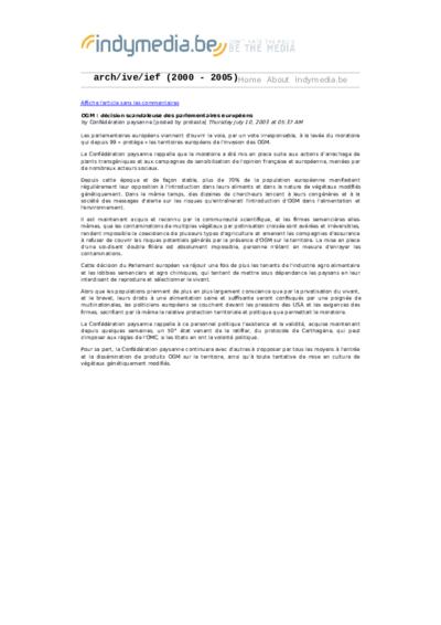 OGM : décision scandaleuse des parlementaires européens