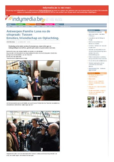 Antwerpen:Familie Luna na de uitspraak: Tussen Emoties,Vriendschap  en Opluchting.