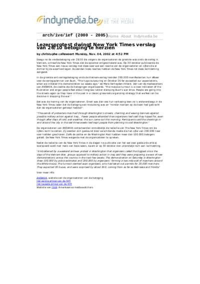 Lezersprotest dwingt New York Times verslag van 26/10 betoging te herzien