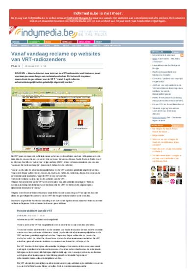 Vanaf vandaag reclame op websites van VRT-radiozenders