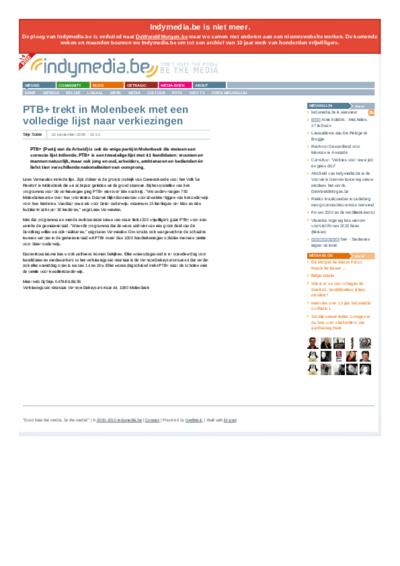 PTB+  trekt in Molenbeek met een volledige lijst naar verkiezingen