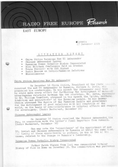 Situation Report: Romania, 17 December 1965