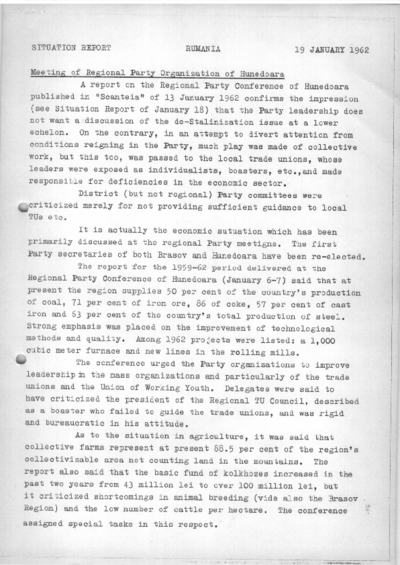 Situation Report: Romania, 19 January 1962