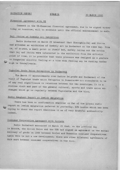 Situation Report: Romania, 30 March 1960