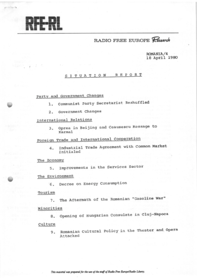 Situation Report: Romania, 18 April 1980