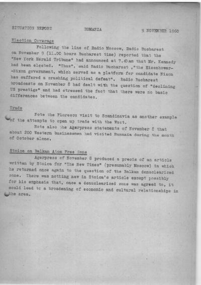 Situation Report: Romania, 9 November 1960
