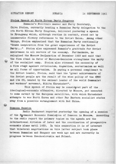 Situation Report: Romania, 14 September 1961