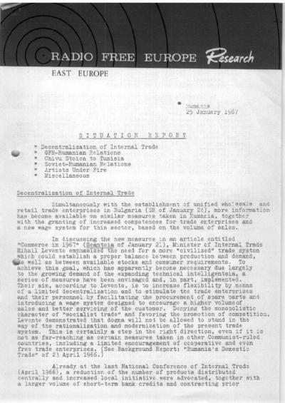 Situation Report: Romania, 25 January 1967