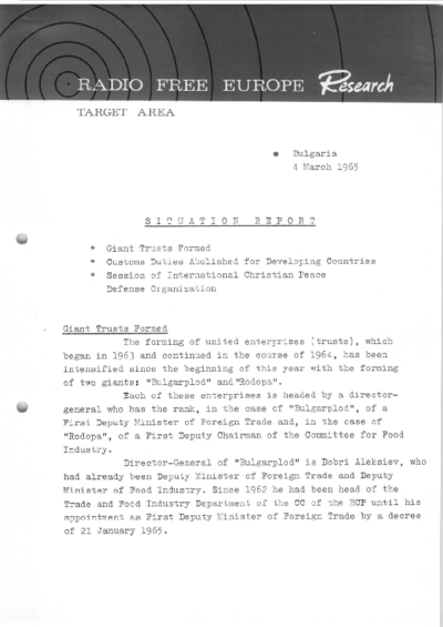 Situation Report: Bulgaria, 4 March 1965