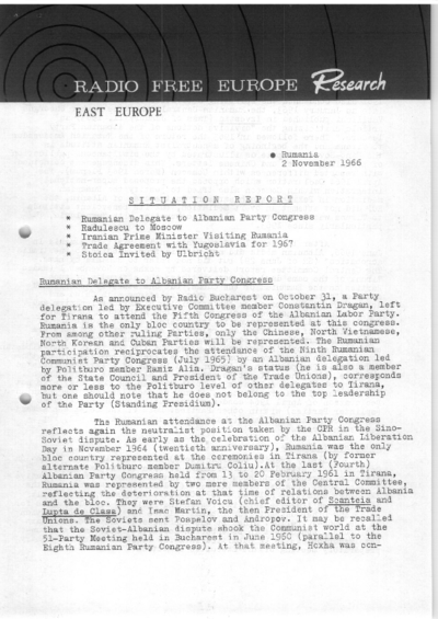 Situation Report: Romania, 2 November 1966