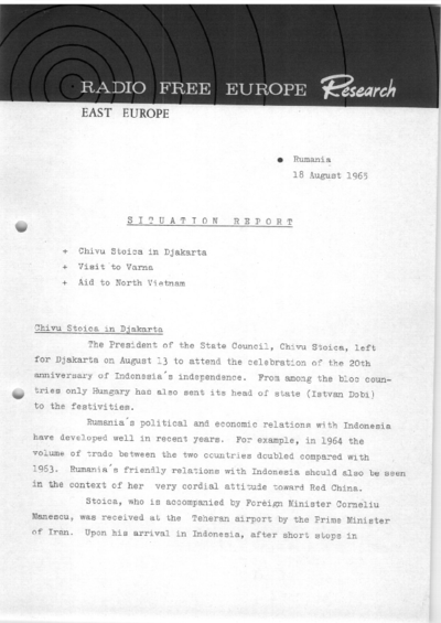 Situation Report: Romania, 18 August 1965