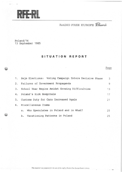 Situation Report: Poland, 13 September 1985