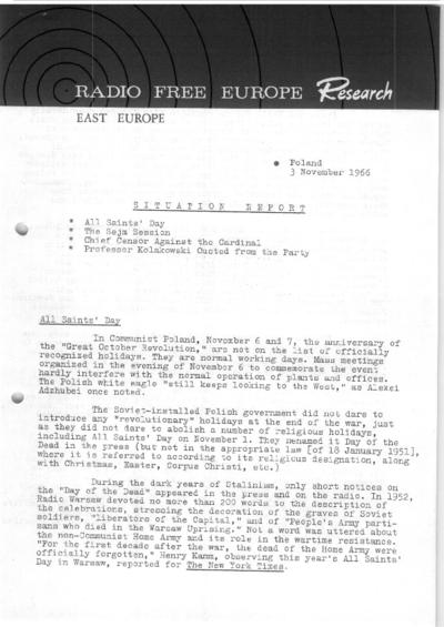 Situation Report: Poland, 3 November 1966