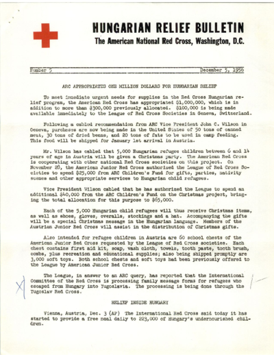 Hungarian Relief Bulletin (Number 5): American Red Cross Appropriates One Million Dollars for Hungarian Relief