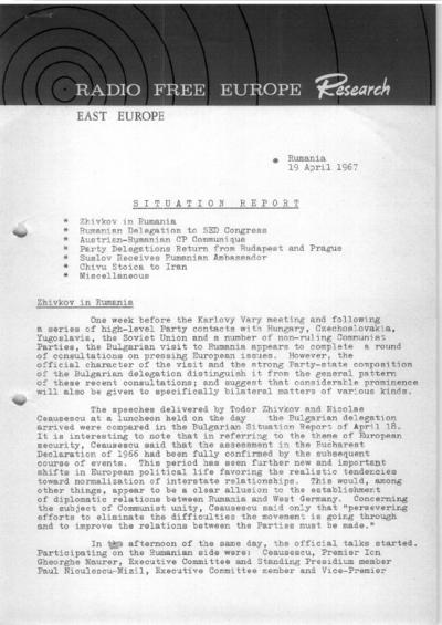 Situation Report: Romania, 19 April 1967