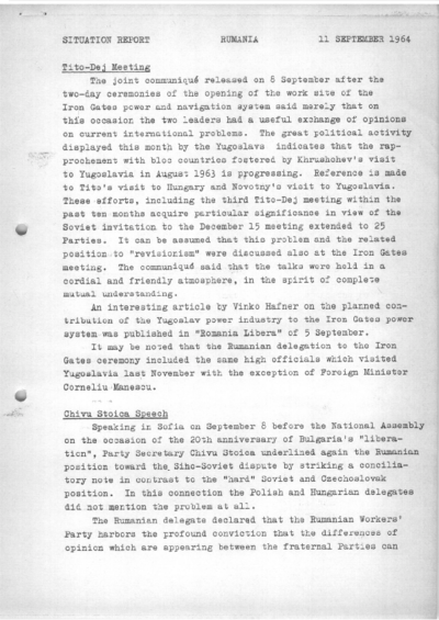 Situation Report: Romania, 11 September 1964