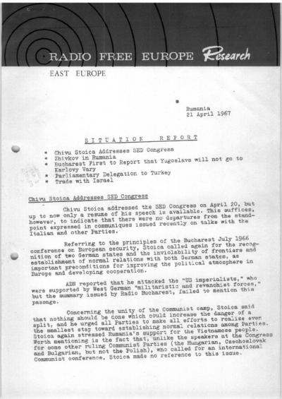 Situation Report: Romania, 21 April 1967