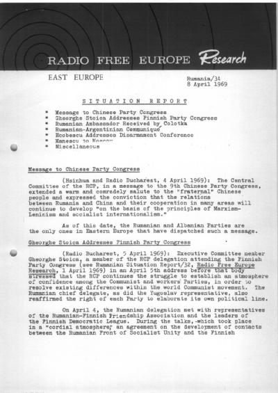 Situation Report: Romania, 8 April 1969