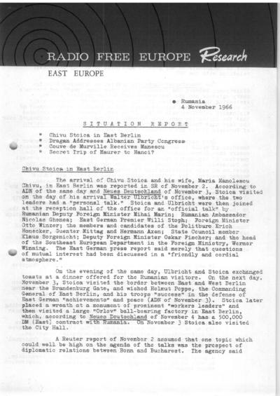 Situation Report: Romania, 4 November 1966