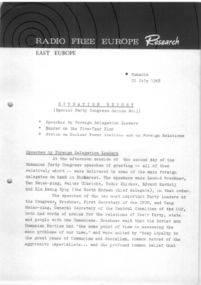 Situation Report: Romania, 21 July 1965