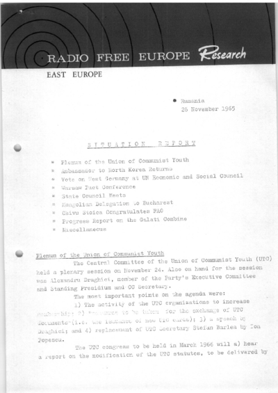 Situation Report: Romania, 26 November 1965