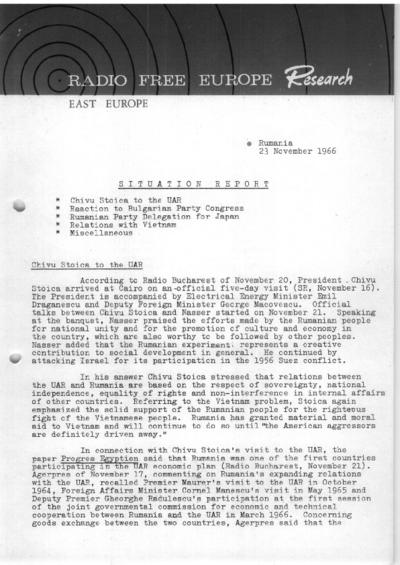 Situation Report: Romania, 23 November 1966