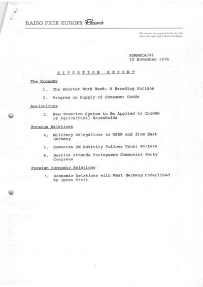 Situation Report: Romania, 19 November 1976