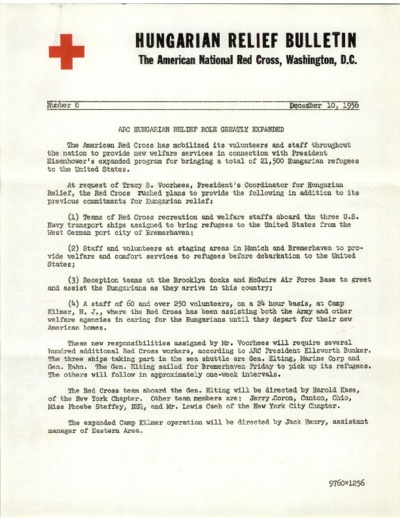 Hungarian Relief Bulletin (Number 8): American Red Cross Role Greatly Expanded in Hungarian Relief