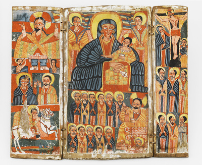 Tríptic amb la Mare de Déu, escenes de la vida de Jesús i sants