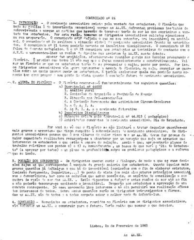 Comunicado nº 24 das Associações de Estudantes