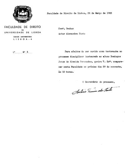 Processos disciplinar instaurado a Domingos Jorge de Almeida Fernandes