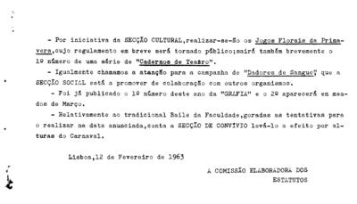 Esclarecimento nº 5 da Comissão Elaboradora dos Estatutos da Faculdade de Letras