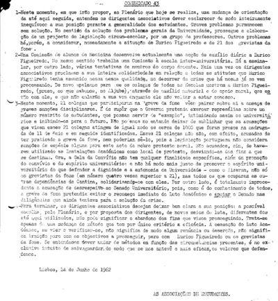 Comunicado nº 43 das Associações de Estudantes