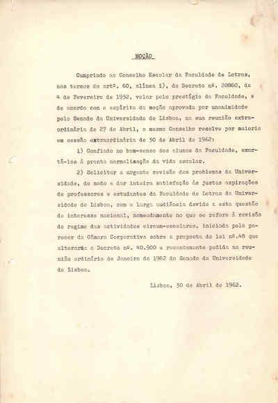 Moção do Conselho Escolar da Faculdade de Letras da Faculdade de Lisboa