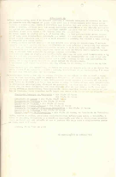 Comunicado nº 34 das Associações de Estudantes