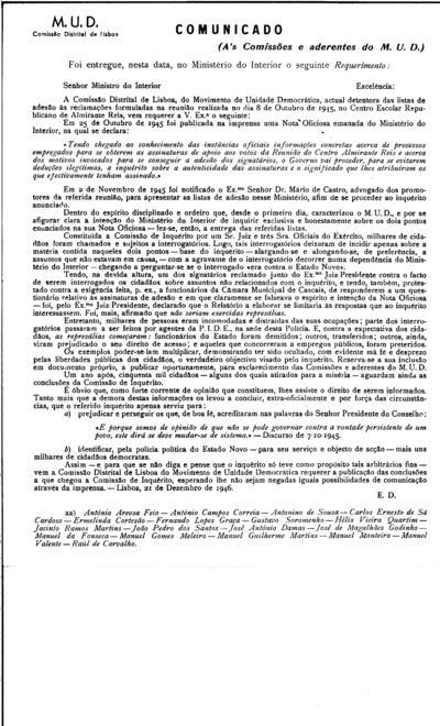 Comunicado da Comissão Distrital de Lisboa do MUD