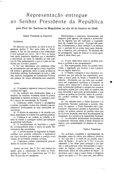 Representação entregue ao Senhor Presidente da República pelo Prof. Dr. Barbosa de Magalhães, no dia 19 de Janeiro de 1946