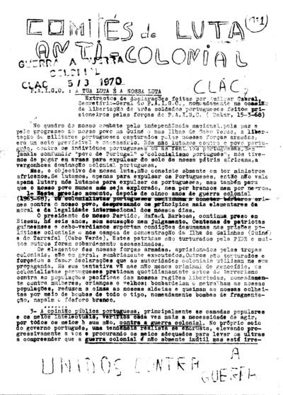 Comités de Luta Anti-Colonial - CLAC 7, n.º 1